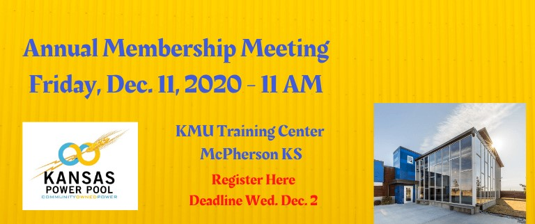 Annual Membership Meeting, Friday December 11, 2020 @ 11AM, KMU Training Center - McPherson, KS, Register Here, Deadline Wednesday, December 2nd