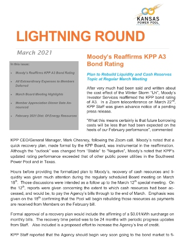 Cover of March 2021 Lightning Round