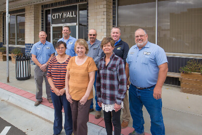 Clay Center Employees Standing Outside City Hall