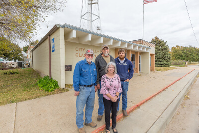 Glasco City Members Standing In Front of Glasco City Hall