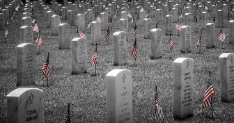 Flags on graves of soldiers