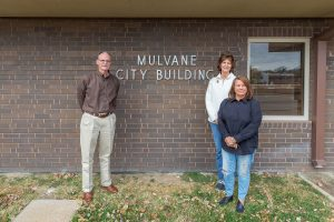 Mulvane City Members Standing In Front of Mulvane City Building
