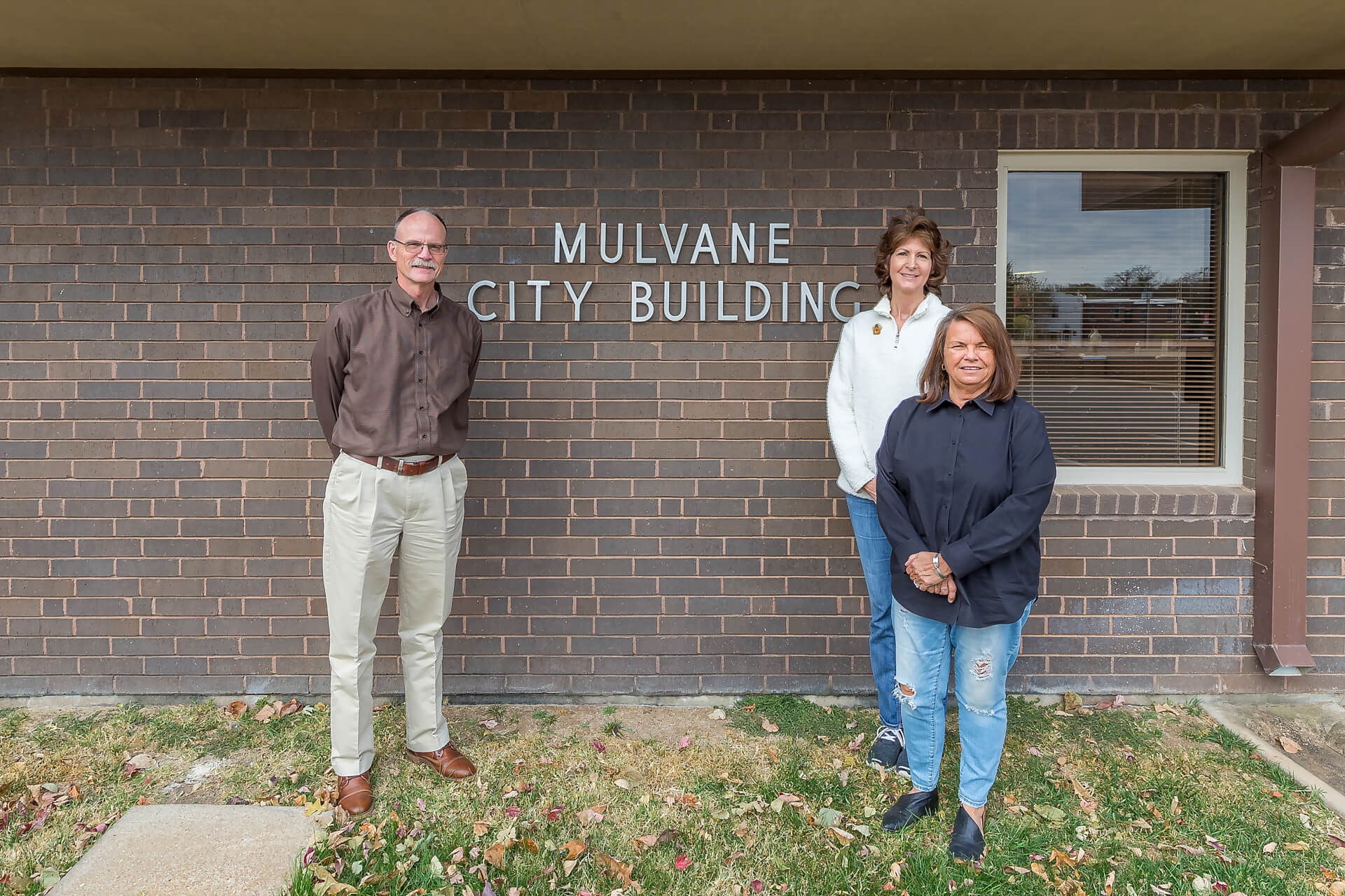 Mulvane City Members Standing In Front of Mulvane City Building